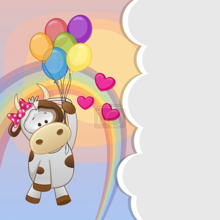 Cow with balloons