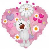 Polar Bear with hearts and flower