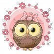Greeting card owl with flowers on a pin...