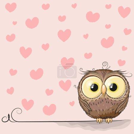 Illustration pour Chouette mignonne sur un fond de coeur - image libre de droit