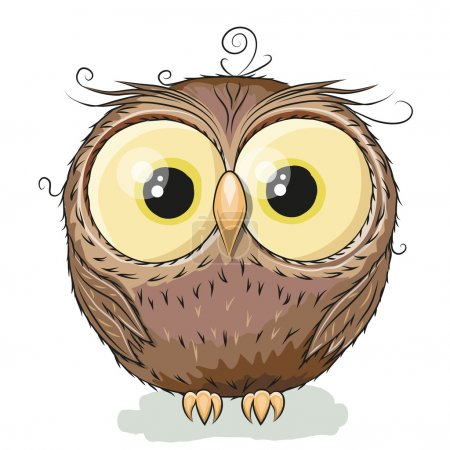 Illustration for Cute Owl isolated on a white backgroun - Royalty Free Image