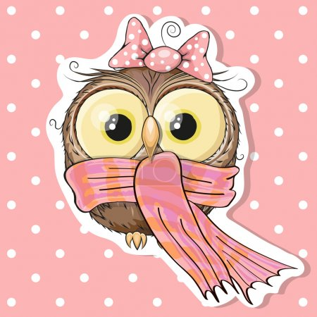 Illustration for Cute Owl in a scarf on a pink background - Royalty Free Image