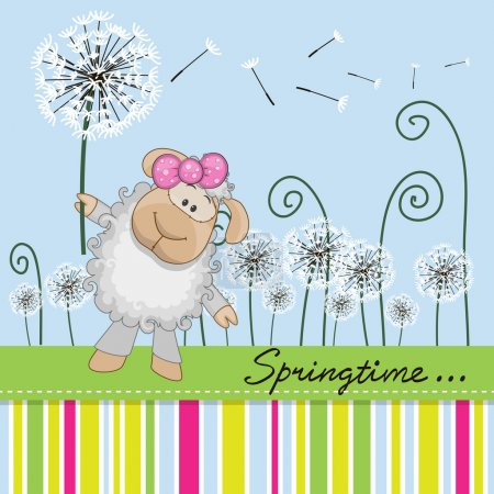 Illustration for Greeting card Cute Sheep with dandelion on a meado - Royalty Free Image