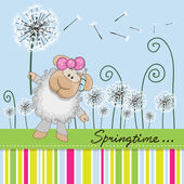 Greeting card Cute Sheep with dandelion on a meado