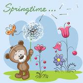 Cute Teddy Bear with dandelion