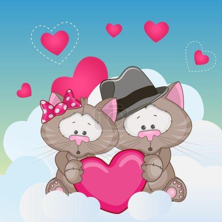 Photo pour Carte de Saint Valentin avec Lovers Cat - image libre de droit