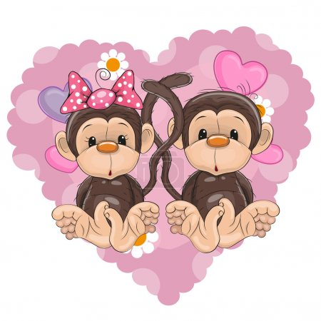 Illustration for Two Monkeys on a background of hear - Royalty Free Image