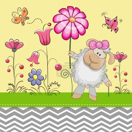 Cute Sheep with a Flower