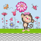 Greeting card Cute Monkey with a flower on a meado