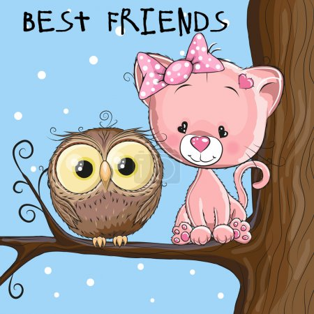Illustration for Cute owl and Kitten is sitting on a brunch - Royalty Free Image