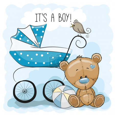 Teddy bear with baby carriage
