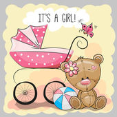 Greeting card it's a girl with baby carriage and teddy bea