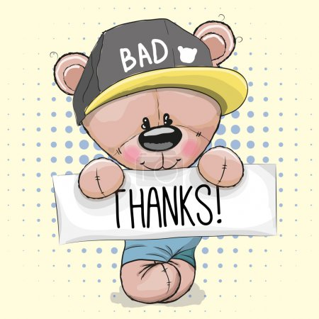 Illustration for Cute Teddy Bear with plaque with inscription thank - Royalty Free Image