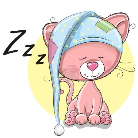 Illustration for Sleeping cute Kitten in a hood on a white backgroun - Royalty Free Image