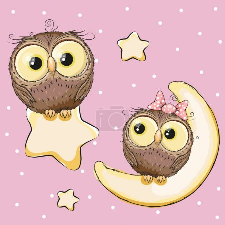 Illustration for Valentine card with Lovers Owls on a moon and sta - Royalty Free Image