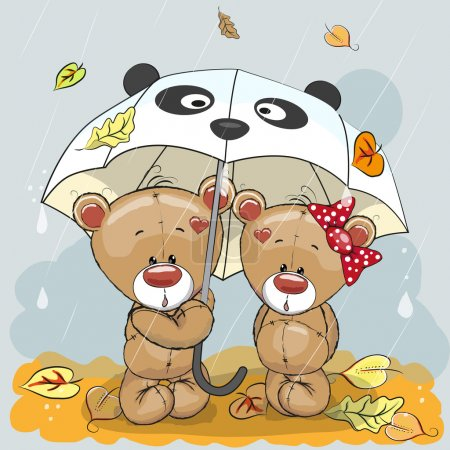 Illustration for Two cute cartoon bears with umbrella under the rain - Royalty Free Image