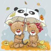 Two cute cartoon bears with umbrella under the rain