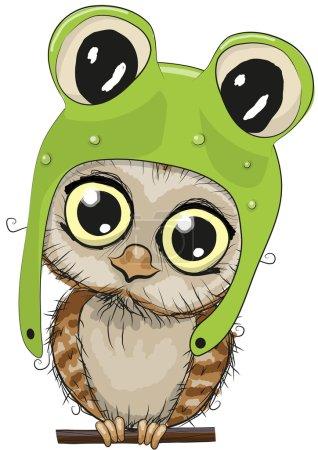 Illustration pour Chouette dessin animé hibou dans un chapeau de grenouille sur un fond blanc - image libre de droit