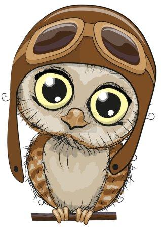 Photo pour Chouette dessin animé hibou dans un chapeau pilote sur un fond blanc - image libre de droit
