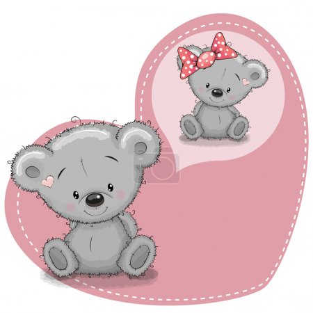 Illustration for Greeting card Cute cartoon Dreaming Teddy Bea - Royalty Free Image