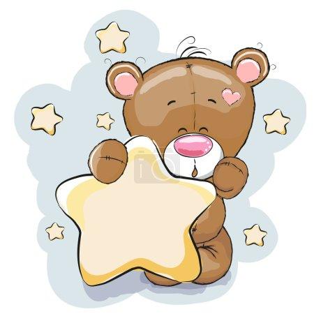 Photo pour Ours en peluche avec étoile sur un fond étoilé - image libre de droit