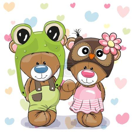 Illustration pour Deux ours de bande dessinée mignon dans un chapeau de grenouille et chapeau de hibou - image libre de droit