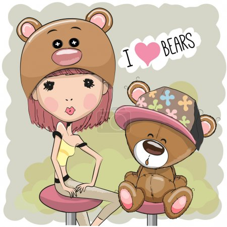 Illustration for Cute Girl in a bear hat with bea - Royalty Free Image