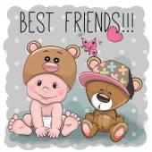 Cute cartoon baby and Teddy Bear