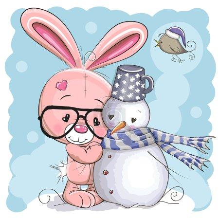 Illustration pour Mignon lapin dessin animé avec des lunettes et un bonhomme de neige - image libre de droit