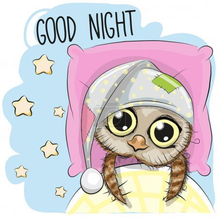 Illustration for Cute Cartoon Sleeping Owl with a hood in a be - Royalty Free Image