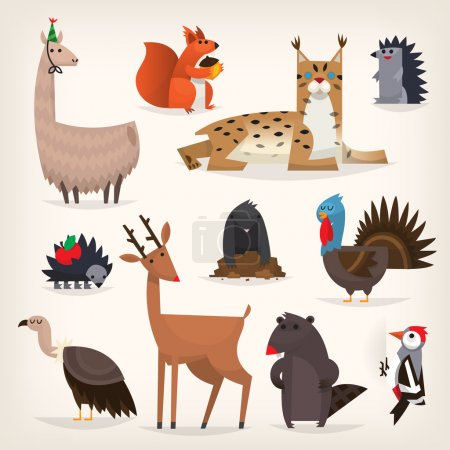 Various forest animals