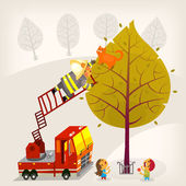 Illustration with a fireman climbing up the firetruck ladder to save a ginger cat from a high tree A boy and a girl are eating candies and looking up at the process Vector illustration