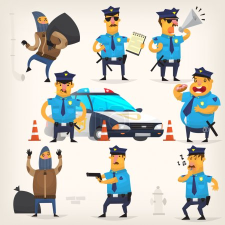 Illustration for Set of colorful isolated vector policeman at work. - Royalty Free Image
