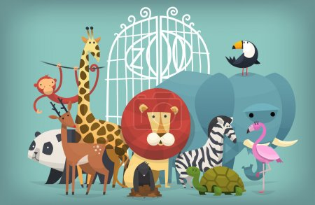 Illustration for Vector illustration card with zoo animals standing near gates inviting to visit a Zoo - Royalty Free Image