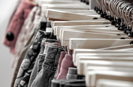 Hangers with clothing