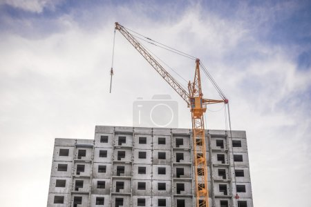 Construction of houses and high-rise crane