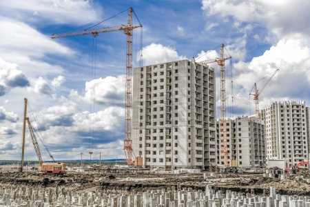 Industrial cranes and building landscape