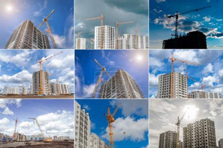 Building of houses and large crane
