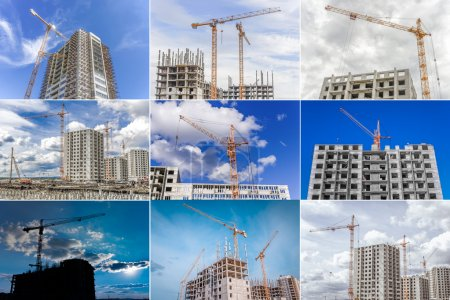 Building of new apartments and construction cranes