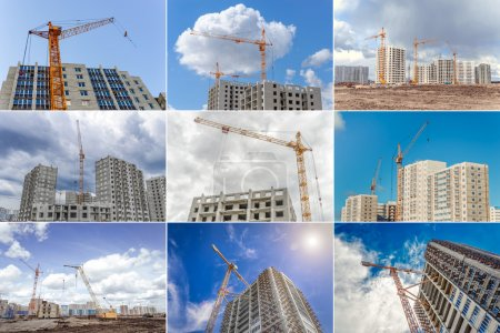 Construction of new houses and industrial cranes. Collage.