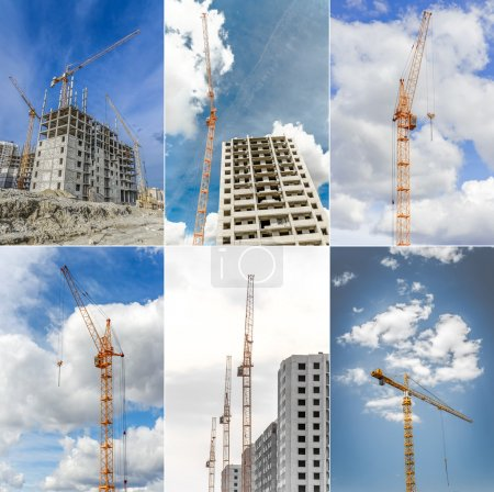 New residential high-rise buildings and powerful crane. Collage.