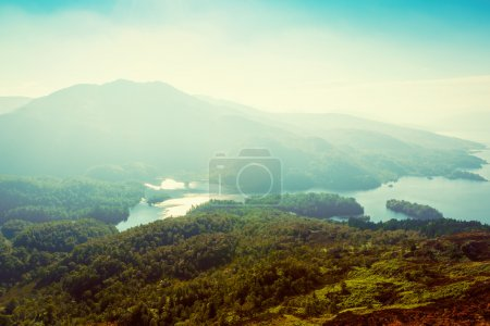 Stunning view of Loch Katrina from Ben A'an, Scottish Highlands,