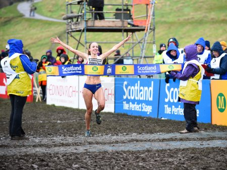 EDINBURGH, SCOTLAND, UK, January 10, 2015 - Emilia Gorecka of GBR wins the Senior Woman's 6k race at the Great Edinburgh Cross Country Run.