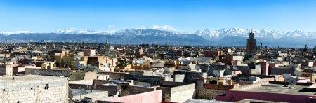 Panoramic view over rooftops near Jemaa el Fna, Marrakech, Morocco