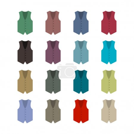 Set of colored waistcoats, vector illustration.