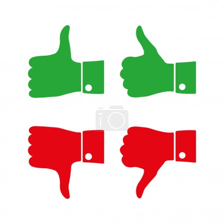 Icons thumbs  up and down, vector illustration