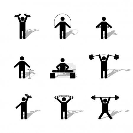 Set athlete silhouettes, vector illustration.