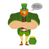 Leprkeon and gold Serious Powerful leprechaun protects pot full
