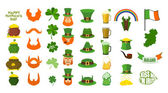 Patricks day Set of icons Red Beard and pipe Leprechaun in Green Hat Pot of gold Shamrock and clover Mug of beer and glass of green ALE Magic rainbow Flag and map of Ireland 17 Marc