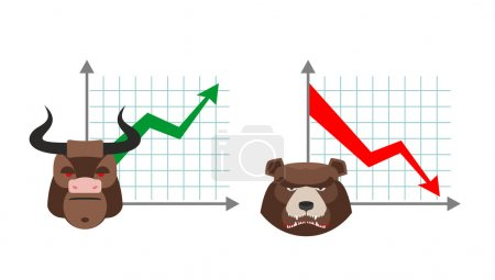 Bull business graph. Growing up green arrow. Bear business sched